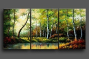 3 Pics Forest River Landscape 100% Hand Painted Oil Painting on Canvas Wall Art Deco Home Decoration