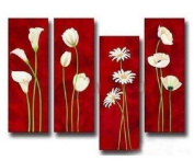 4 Pics Blooming Spring Flowers Modern Art 100% Hand Painted Oil Painting on Canvas Wall Art Deco Home Decoration