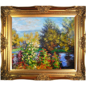 overstockArt Corner of The Garden at Montgeron by Claude Monet-Framed Oil Reproduction of an Original Painting by Claude Monet