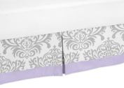 Lavender, Grey and White Damask Print Elizabeth Bed Skirt for Girl Toddler Bedding Sets