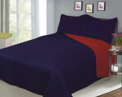 BALTIC LINEN COMPANY Luxury Fashionable Reversible Solid Colour Mini Quilt Sets, Twin, Navy/Red