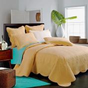 Sage Garden Luxury Pure Cotton Quilt By Calla Angel, Gold, Queen Size