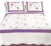 Couture Home Collection Luxury Embroidery Quilt Set - 100% Cotton Fill - White & Purple