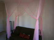 Octorose ® Twin Size Single Bed Pink Colour 4 Corner / Post Bed Canopy Mosquito Net