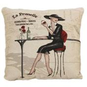 New Elegant Black Dress Lady Bistro Drinks Art Decorative Pillow Case Fashion Cushion Cover