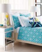 Trina Turk Palm Spring White & Blue Block Embroidered Border 400 Thread Count EURO Pillow Sham
