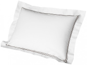 Cuddledown 400 Thread Count Sateen Pillow Shams, King, White/Chocolate