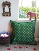 The Empresses Emeralds~ Indian Inspired Green and Gold Euro Sham 26x26