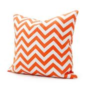 Lavievert 46cm X 46cm Decorative Cotton Canvas Square Throw Pillow Cover Cushion Case Handmade White and Orange Chevron Stripe Toss Pillowcase with Invisible Zipper Closure