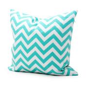 Lavievert Decorative Cotton Canvas Square Throw Pillow Cover Cushion Case Handmade White and Light Blue Chevron Stripe Toss Pillowcase with Hidden Zipper Closure
