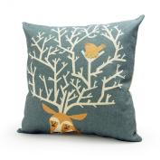 Lavievert Decorative Linen Square Throw Pillow Cover Cushion Case Handmade Toss Pillowcase with Hidden Zipper Closure, Deer Antler and Bird Pattern, for Living Room, Sofa, Etc... Fit a 46cm X 46cm Insert