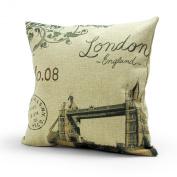 Lavievert Decorative Linen Square Throw Pillow Cover Cushion Case Handmade Toss Pillowcase with Hidden Zipper Closure, Vintage Style London Bridge Pattern, for Living Room, Sofa, Etc... Fit a 46cm X 46cm Insert