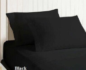 100% Egyptian Cotton 400TC Solid Sateen Pillowcase Standard Black (set of 2) BY HOMESPELL