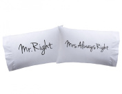 "Pillowcases ""Mr & Mrs Right "" Super Soft Pillowcases-romantic Valentines Gifts for Couples, Cute Valentine Day Gift Idea"
