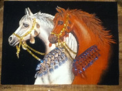 Hand painted in Egypt Natural Papyrus painting, 2 Horses white & Brown that glow in the dark. Size 30cm x 43cm
