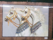 Hand Painted in Egypt Natural Papyrus Painting, 2 White Horses with Blue Gleter That Glow in the Dark. Size 46cm x 60cm