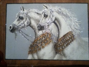 Hand Painted in Egypt Natural Papyrus Painting, 2 White Horses with Red Gleter That Glow in the Dark. Size 46cm x 60cm