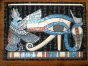 Hand painted in Egypt Natural Papyrus painting, Eye of Horrus that glow in the dark. Size 30cm x 43cm