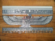 Hand Painted in Egypt Natural Papyrus Painting, Goddess Isis with Her Wings Open That Glow in the Dark. Size 30cm x 43cm