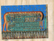 Hand Painted in Egypt Natural Papyrus Painting, Goddess Nut. Her Name Is Translated to Mean 'Sky' She Was Originally the Goddess of the Nighttime Sky, but Eventually Became Referred to As Simply the Sky Goddess. Great Body Formed the Sky and Heavens . ..