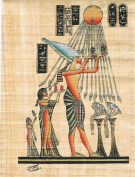 Hand Painted in Egypt Natural Papyrus Painting, Ikhnaton worshipping the Sun. size 20cm x 30cm