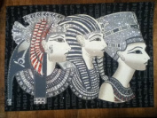 Hand Painted in Egypt Natural Papyrus Painting, Queen Nefertiti, Quenn Cleopatra & King Tutankh Amun That Glow in the Dark. Size 30cm x 43cm