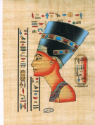 Hand Painted in Egypt Natural Papyrus Shows Queen Nefertiti, Egypt's Most Beautiful Queen Nefertiti Was the Great Royal Wife of the Egyptian Pharaoh Akhenaten. Nefertiti and Her Husband Were Known for a Religious Revolution, in Which They Worshiped One ..
