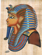Hand Painted in Egypt Natural Papyrus Shows the Musk of King Tutankhamen . Size 20cm x 30cm