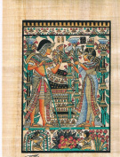 Hand Painted in Egypt Natural Papyrus Shows the Wedding Card of King Tut. 20cm x 30cm