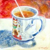 Hot Tea -- Maneki Neko Mug, Framed Giclee Print of Watercolour Still Life Showing the Japanese Beckoning Cat, 38cm X 38cm