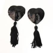 AllBueaty 1 Pair Black Lingerie Sequin Heart-shaped Tassel Breast Bra Nipple Cover Pasties