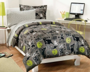 Extreme Skateboarding Boys Grey Comforter Set with 180 TC Sheets