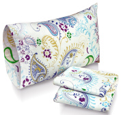 Tribeca Living Paisley Garden Printed Deep Pocket Flannel Sheet Set with Pillowcase, Queen