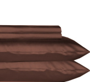 Tribeca Living 600 Thread Count Egyptian Cotton Sateen Extra Deep Pocket Sheet Set, King, Chocolate