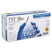 AnsellPro TNT Disposable Nitrile Gloves, Non-powdered, Blue, X-Large, 100 Gloves/Box - 100 gloves.
