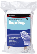 Buffalo Industries 10267 Recycled White Cloth Tee Shirt Rags with Coloured Trim in 0.9kg Poly Bag