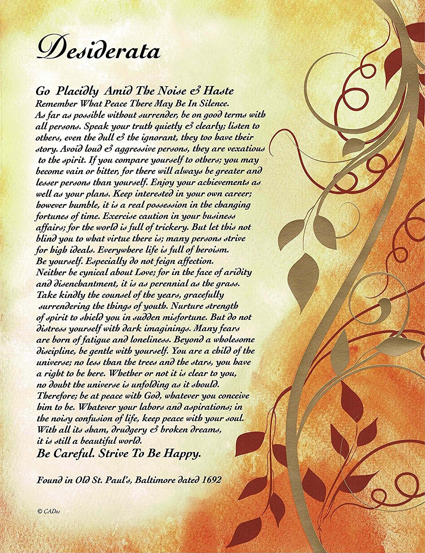 picture relating to The Desiderata Poem Printable identify Upon Golden Leaves - Desiderata Poem Via Max Ehrmann - Artwork Print 8 X 10 or 8.5 X 11