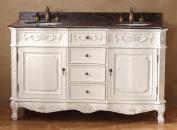 150cm . Double Vanity in Antique White Finish
