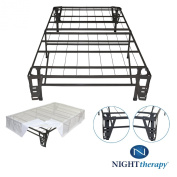 Night Therapy Platform Metal Bed Frame/Foundation Set(SmartBase + Metal Brackets for Headboard & Footboard + Bed Skirt - Twin XL - No Box Spring needed