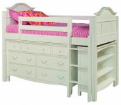 Bolton Furniture 9881500LS8320 Emma Low Loft Storage Bed with Ladder, 7 Drawer Dresser and Three Shelf Bookcase, White
