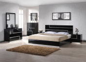 J & M Furniture Lucca Black Lacquer With Crystal Accents Queen Size Bedroom Set