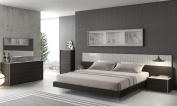 J & M Furniture Porto Light Grey Lacquer With Wenge Veneer Queen Size Bedroom Set