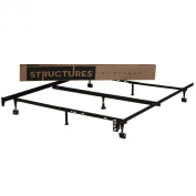 STRUCTURES by Malouf Heavy Duty 7-Leg LINENSPA Adjustable Metal Bed Frame with Centre Support and Rug Rollers -
