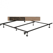 STRUCTURES by Malouf Heavy Duty 9-Leg Adjustable Metal Bed Frame with Centre Support and Rug Rollers - UNIVERSAL