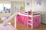 Twin Tent Loft with Slide and Slat-Kits in White with Pink Tent