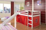 Twin Tent Loft Bed w/ Slide White Finish / Red Tent