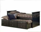 Bernards Captains Trundle Bed with Storage, Black