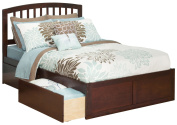 Atlantic Furniture Richmond Full Bed with Flat Panel Foot Board and 2 Urban Bed Drawers