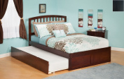 Atlantic Furniture Richmond Full Platform Bed with Flat Panel Footboard and Trundle in Espresso