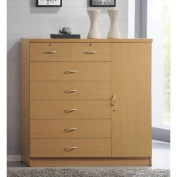 Hodedah 7 Drawer Jumbo Chest, Five Large Drawers, Two Smaller Drawers with Two Lock, Hanging Rod, and Three Shelves, Beech